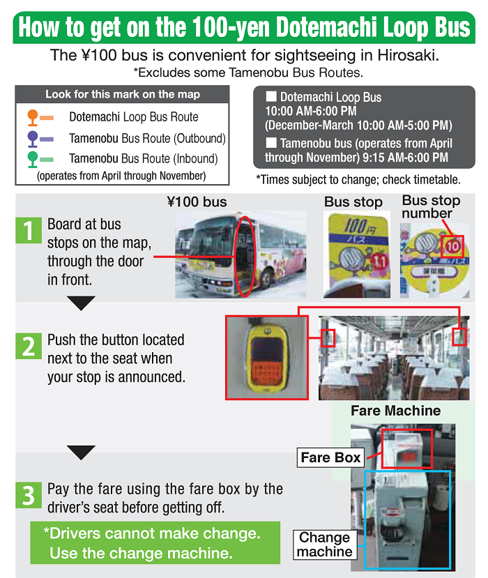 How to get on the 100-yen Dotemachi Loop Bus
